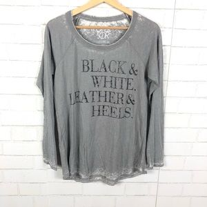 NEW Chaser Black & White. Leather & Heels Tee